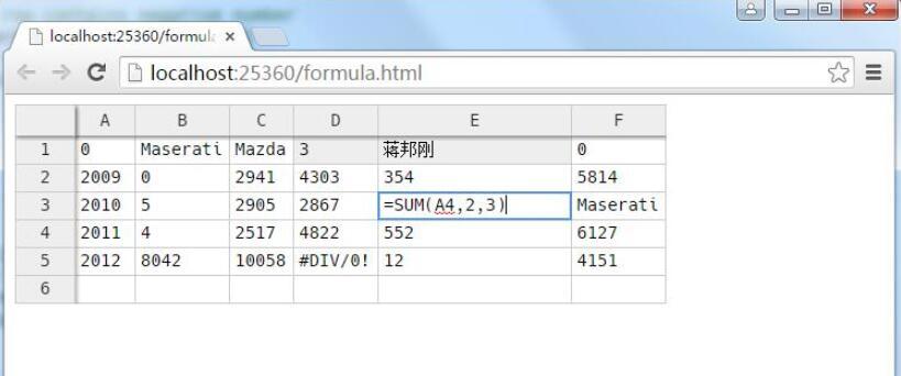 在web中js实现类似excel的表格控件